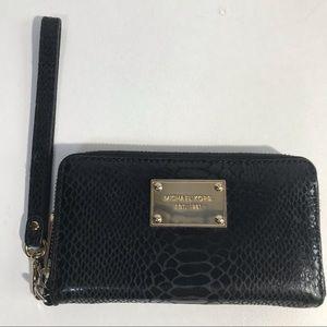 Michael Kors Leather Wristlet Wallet Snakeprint